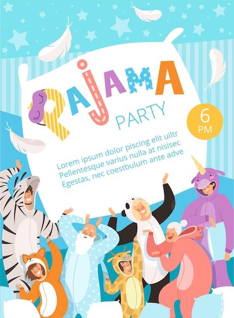 Festa do pijama. convite de cartaz para o cartaz dos pais e filhos da celebração do pijama da roupa de noite de traje. Vetor Premium