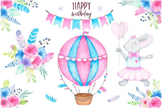 Festa em aquarela feliz aniversário conjunto com penas de buquê de flores e guirlanda de balão de ar de coelho Vetor grátis