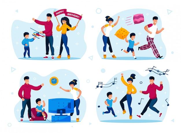Festa em família, treinamento para crianças Vetor Premium