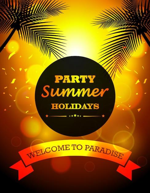 Festa férias de verão Vetor Premium