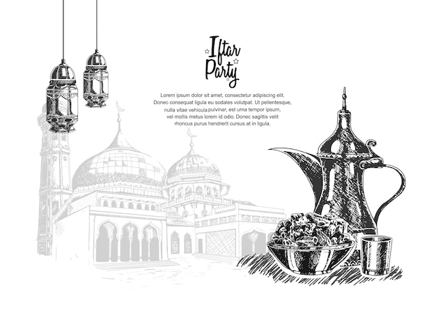 Festa iftar com comida, lanterna e mesquita Vetor Premium