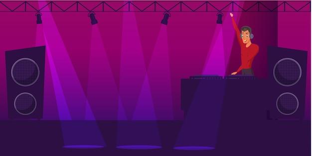 Festa, ilustração de discoteca, personagem de desenho animado de dj de boate com iluminação, equipamento de música. Vetor Premium