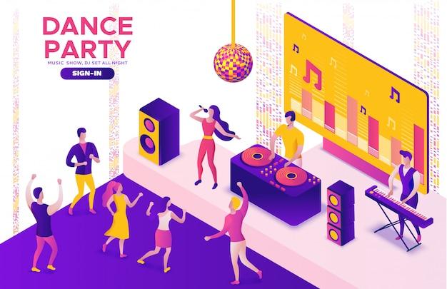 Festa isométrica, dj tocando música, 3d Vetor Premium