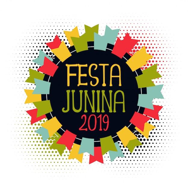Festa junina 2019 bandeiras abstratas Vetor grátis
