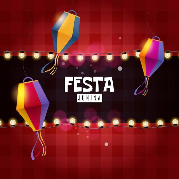Festa junina atrasa e lanterna de papel Vetor Premium