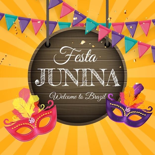 Festa junina background com bandeiras de festa Vetor Premium