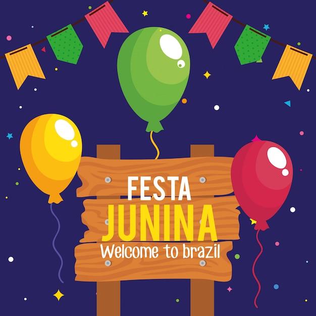 Festa junina cartão com balões de hélio e decoração Vetor Premium