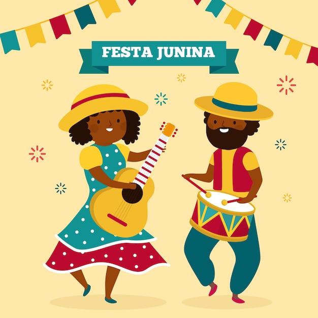 Festa junina celebration Vetor grátis