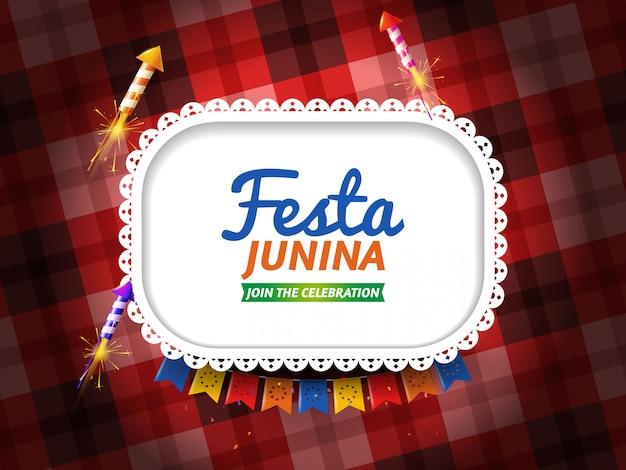 Festa junina com galhardetes e fogos de artifício Vetor grátis