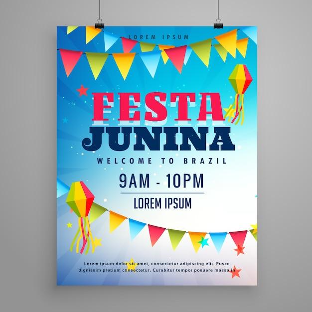 Festa junina comemoração poster flyer design com decoração guirlanda Vetor grátis