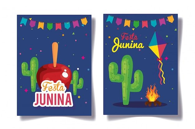 Festa junina conjunto de cartões, brasil festival de junho com ilustração de decoração Vetor Premium