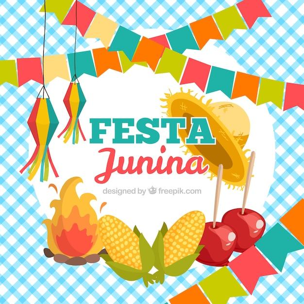 Festa junina de fundo com elementos tradicionais Vetor grátis
