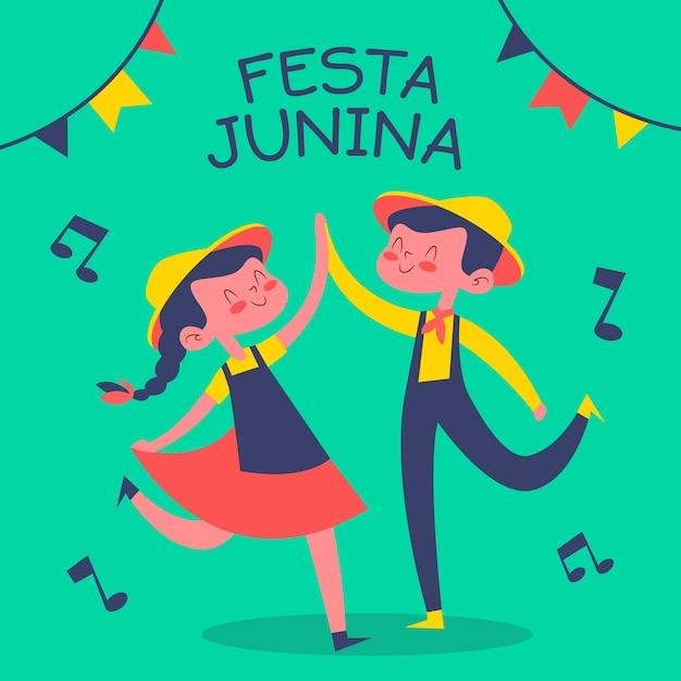 Festa junina desenhada de mão Vetor Premium
