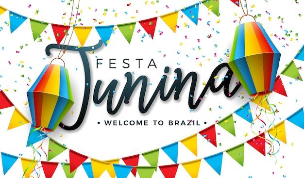 Festa junina design com bandeiras do partido e lanterna de papel Vetor Premium