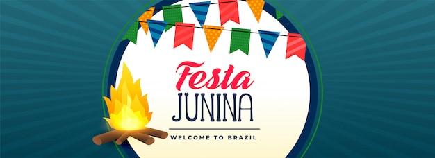 Festa junina fogueira festival bandeira Vetor grátis