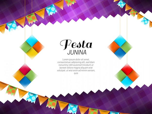 Festa junina fundo com galhardetes e decorações de papel Vetor grátis