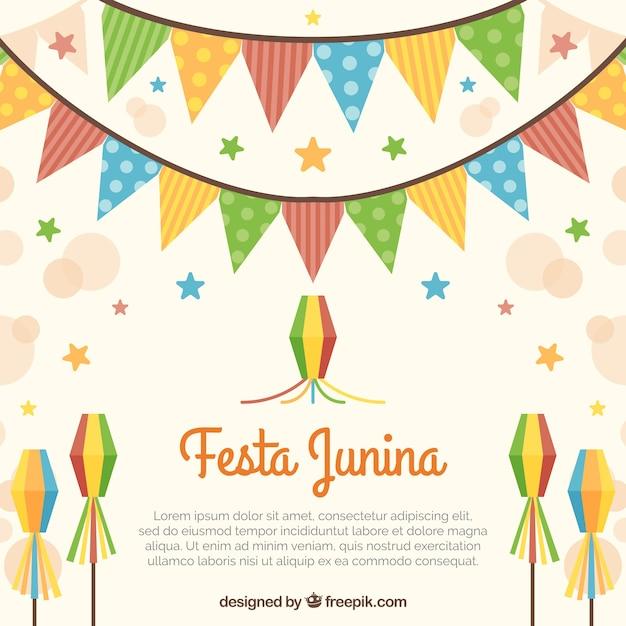 Festa junina fundo com guirlandas e pipas | Baixar vetores