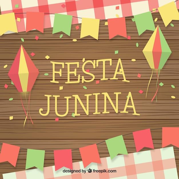 Festa junina fundo com ornamentos Vetor grátis