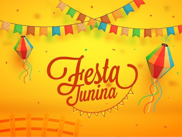 Festa junina, fundo de férias. Vetor Premium