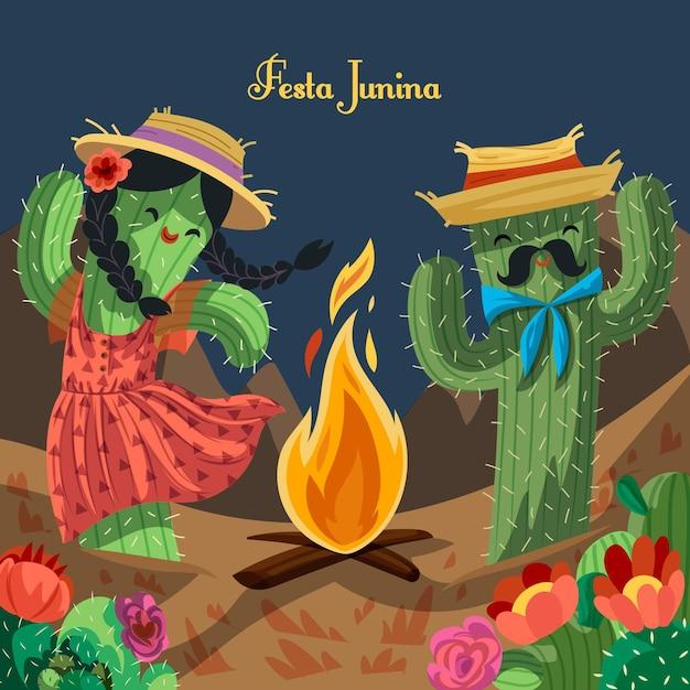 Festa junina fundo mão desenhada Vetor grátis