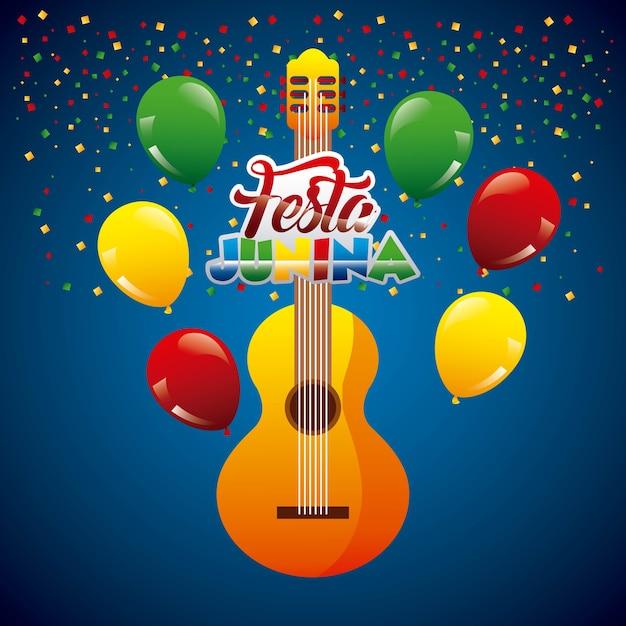Festa junina gitar confetti garland em fundo azul Vetor Premium
