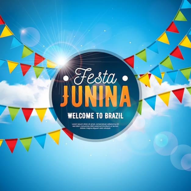 Festa junina ilustração com bandeiras do partido e céu azul nublado Vetor Premium
