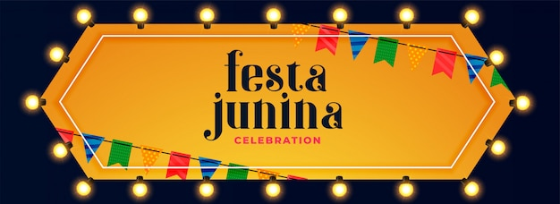 Festa junina luzes decoração celebração banner Vetor grátis