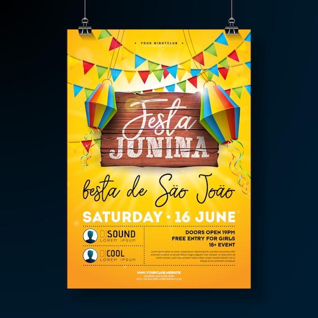 Festa junina party flyer ilustração Vetor Premium