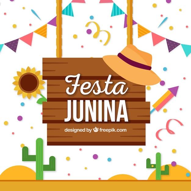 Festa junina poster fundo com elementos Vetor grátis