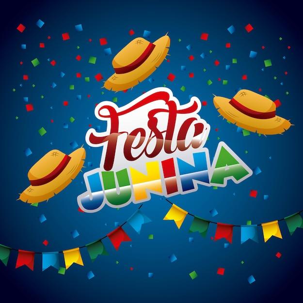 Festa junina vime chapéus confetes guirlandas cartaz Vetor Premium