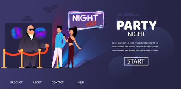 Festa noite bouncer face control homem e mulher Vetor Premium