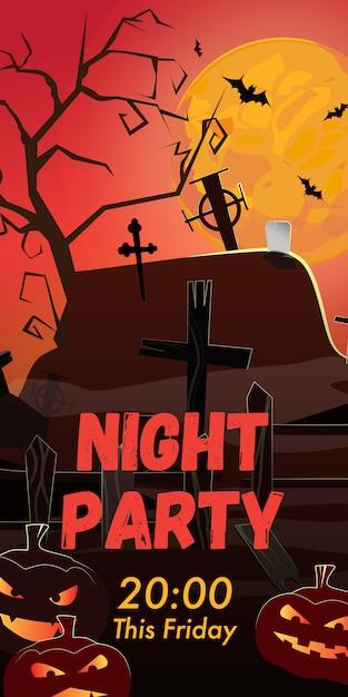 Festa noturna esta sexta-feira letras. cemitério, abóboras e morcegos Vetor grátis