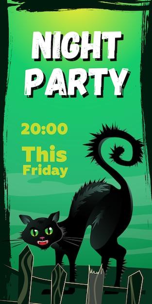 Festa noturna esta sexta-feira letras. gato preto com raiva por trás da cerca Vetor grátis