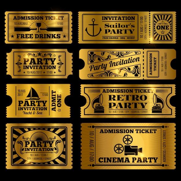 Festa retrô, cinema, bilhetes de convite definido Vetor Premium