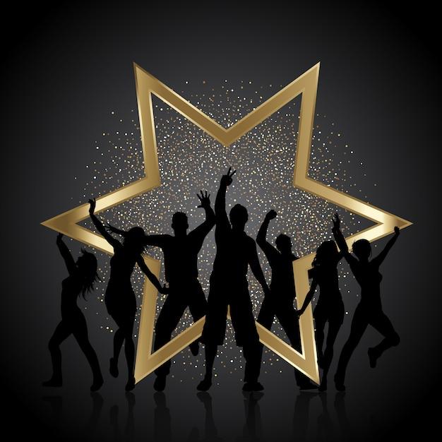 Festeiros com glitter dourado e estrela Vetor grátis