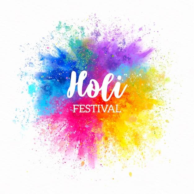 Festival de aquarela holi Vetor grátis