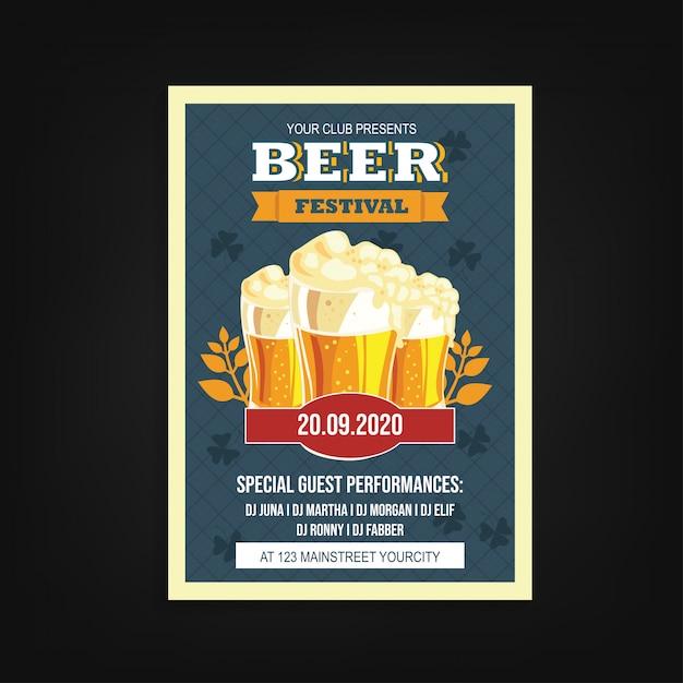 Festival de cerveja flyer modelo vintage Vetor Premium