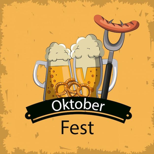 Festival de cerveja oktober Vetor Premium