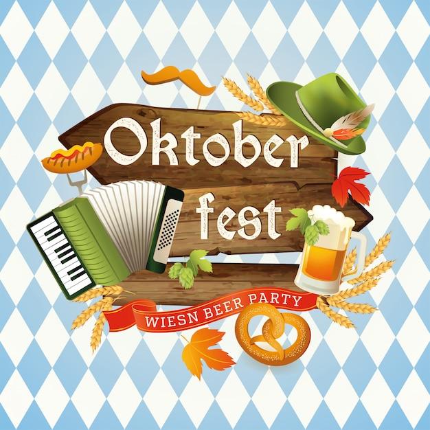 Festival de cerveja oktoberfest. Vetor Premium