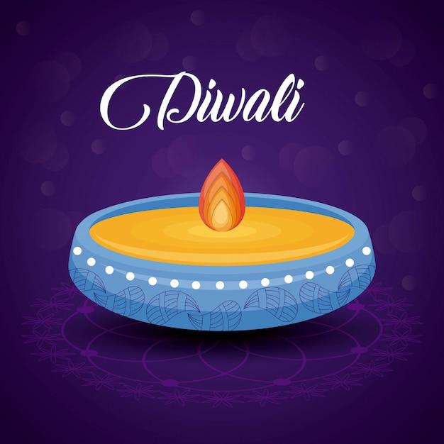 Festival de diwali de vela Vetor grátis