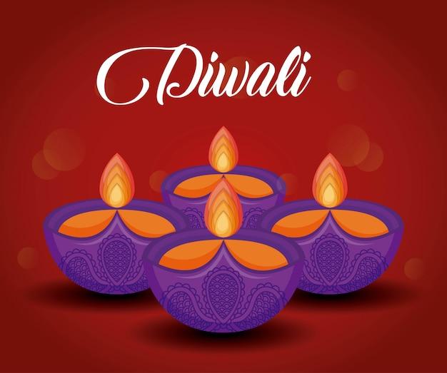 Festival de diwali de velas Vetor grátis