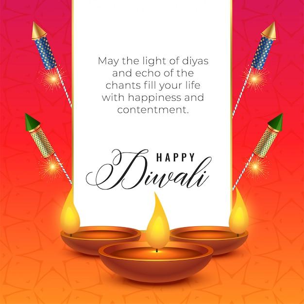 Festival de diwali deseja fundo com diya e bolachas Vetor grátis