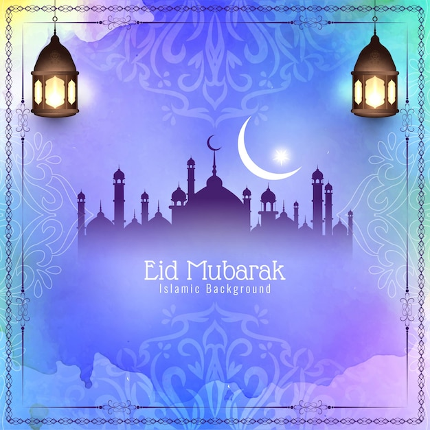 Festival de eid mubarak colorido abstrato Vetor grátis