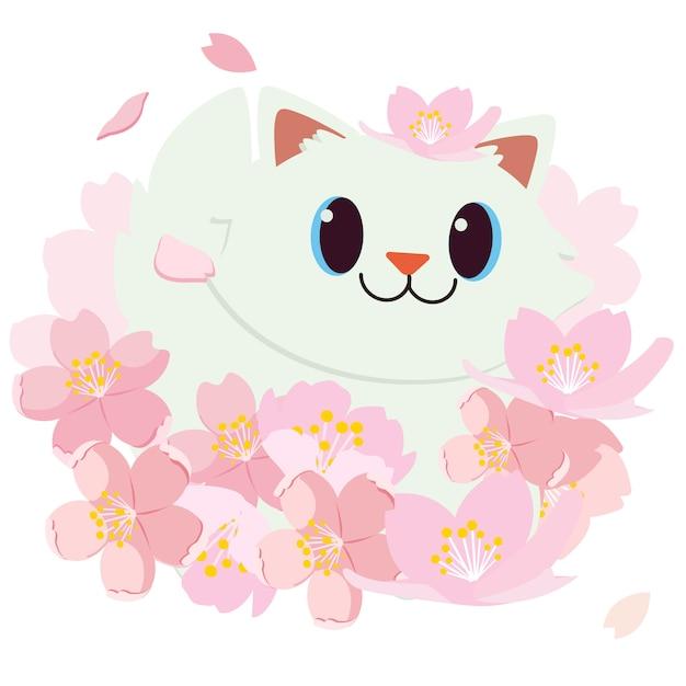Festival de hanami. festival da flor de cerejeira. festival no japão. gato feliz está sorrindo Vetor Premium