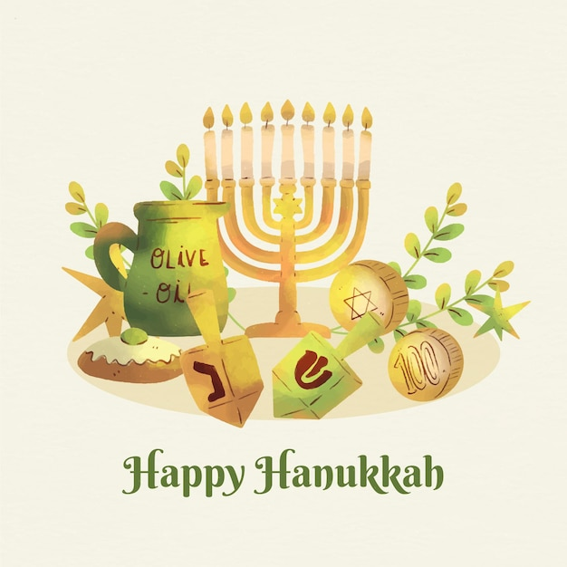 Festival de hanukkah em aquarela Vetor grátis