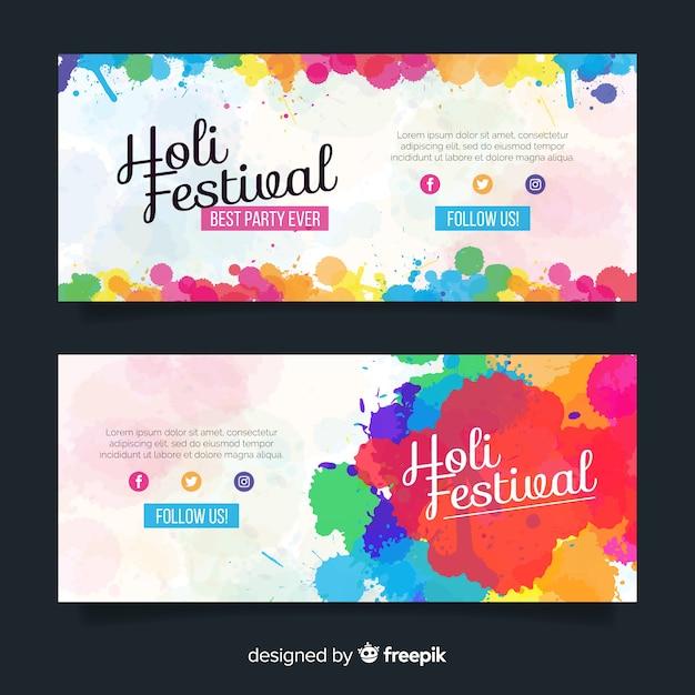 Festival de holi bandeira plana colorida Vetor grátis