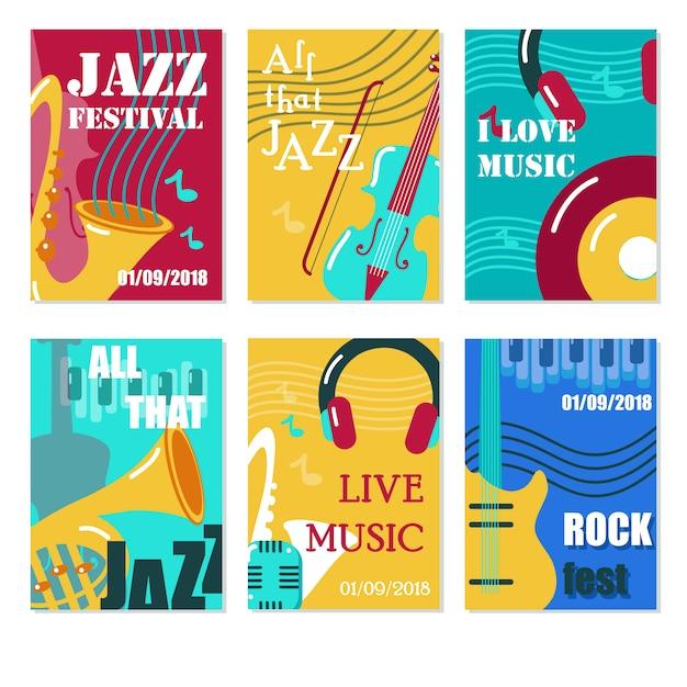 Festival de jazz, cartaz de concerto de música ao vivo, panfleto, conjunto de modelo de cartão. Vetor Premium
