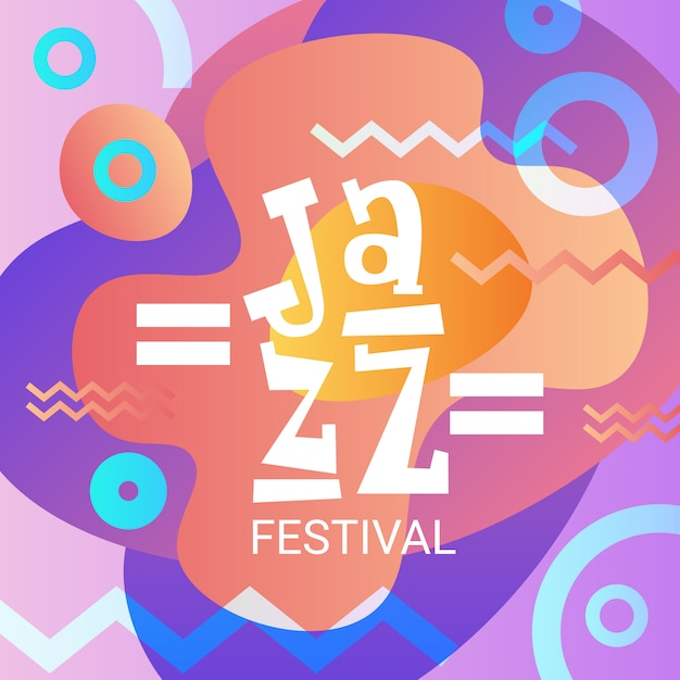 Festival de jazz live music concert poster banner de propaganda Vetor Premium