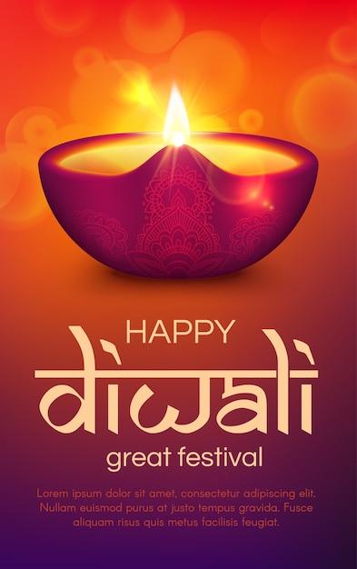 Festival de luz indiano diwali ou deepavali. lâmpada diya da religião hindu, saudação de feriado, lanterna a óleo com chama de fogo ardente, decoração rangoli com padrão paisley e ornamento floral Vetor Premium