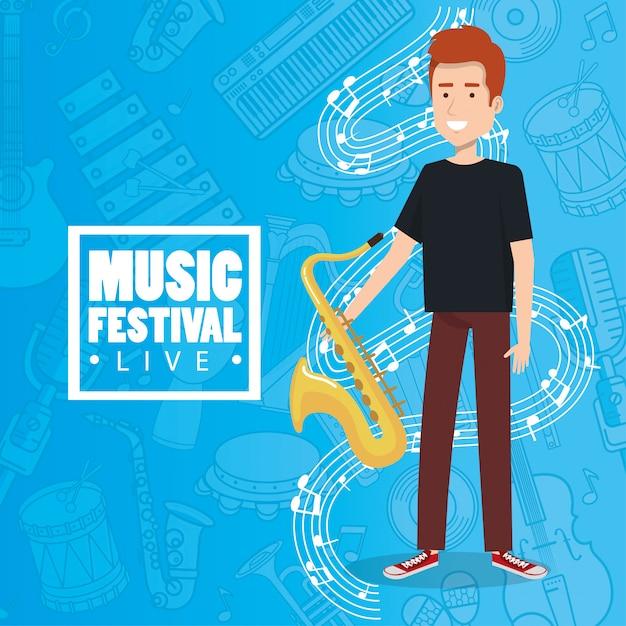 Festival de música ao vivo com homem tocando saxofone Vetor grátis